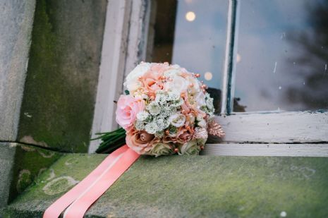Coral rose brooch bridal bouquet